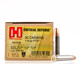 Image For 250 Rounds Of 110 Grain FTX Boxer Nickel-Plated Brass 30 Carbine Hornady Ammunition