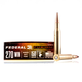 Image For 20 Rounds Of 150 Grain Fusion Boxer Brass 270 Win Federal Ammunition