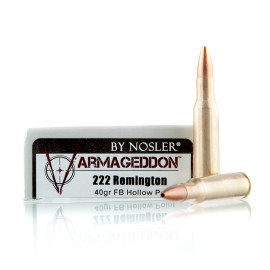 Image For 20 Rounds Of 40 Grain Flat Base Hollow-Point (FBHP) Boxer Brass 222 Rem Nosler Ammunition Ammunition