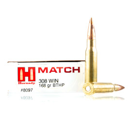 Image For 20 Rounds Of 168 Grain HPBT Boxer Brass 308 Win Hornady Ammunition
