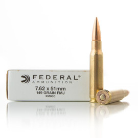 Image For 20 Rounds Of 149 Grain FMJ Boxer Brass 308 Win Federal Ammunition