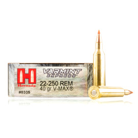 Image For 20 Rounds Of 40 Grain V-MAX Boxer Brass 22-250 Rem Hornady Ammunition