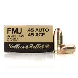 Image For 50 Rounds Of 230 Grain FMJ Boxer Brass 45 Auto Sellier and Bellot Ammunition
