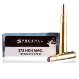 Image For 20 Rounds Of 300 Grain SP Boxer Brass 375 H&H Magnum Federal Ammunition