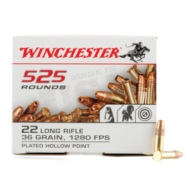 Image For 5250 Rounds Of 36 Grain CPHP Rimfire Brass 22 LR Winchester Ammunition
