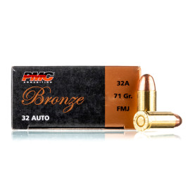 Image For 50 Rounds Of 71 Grain FMJ Boxer Brass 32 ACP PMC Ammunition