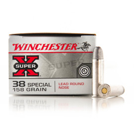 Image For 50 Rounds Of 158 Grain LRN Boxer Nickel-Plated Brass 38 Special Winchester Ammunition