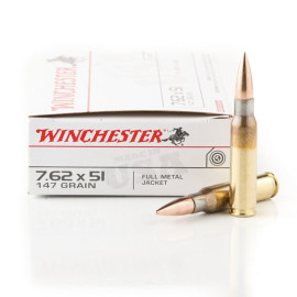 Image For 200 Rounds Of 147 Grain FMJ Boxer Brass 308 Win Winchester Ammunition