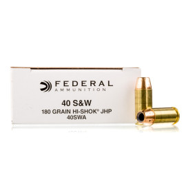 Image For 50 Rounds Of 180 Grain JHP Boxer Brass 40 Cal Federal Ammunition