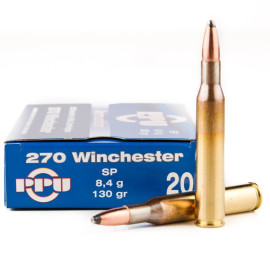 Image For 20 Rounds Of 130 Grain SP Boxer Brass 270 Win Prvi Partizan Ammunition