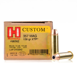 Image For 25 Rounds Of 158 Grain JHP Boxer Brass 357 Magnum Hornady Ammunition