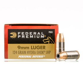 Image For 20 Rounds Of 124 Grain JHP Boxer Nickel-Plated Brass 9mm Federal Ammunition
