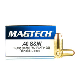 Image For 50 Rounds Of 165 Grain FMJ-FN Boxer Brass 40 Cal Magtech Ammunition