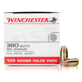 Image For 100 Rounds Of 95 Grain FMJ Boxer Brass 380 ACP Winchester Ammunition