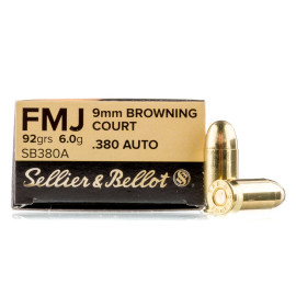 Image For 50 Rounds Of 92 Grain FMJ Boxer Brass 380 ACP Sellier and Bellot Ammunition