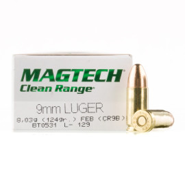 Image For 50 Rounds Of 124 Grain TMJ Boxer Brass 9mm Magtech Ammunition