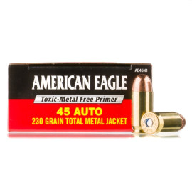 Image For 50 Rounds Of 230 Grain TMJ Boxer Brass 45 Auto Federal Ammunition