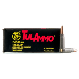 Image For 40 Rounds Of 124 Grain HP Berdan Steel 7.62x39 TulAmmo Ammunition