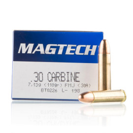 Image For 50 Rounds Of 110 Grain FMJ Boxer Brass 30 Carbine Magtech Ammunition