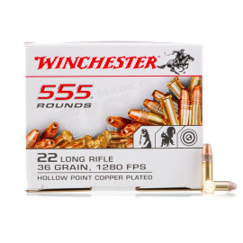 Image For 555 Rounds Of 36 Grain CPHP Rimfire Brass 22 LR Winchester Ammunition