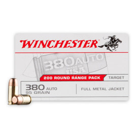 Image For 1000 Rounds Of 95 Grain FMJ Boxer Brass 380 ACP Winchester Ammunition