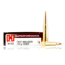 Image For 20 Rounds Of 139 Grain GMX Boxer Brass 7x57mm Hornady Ammunition