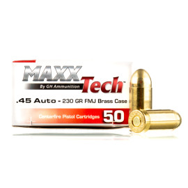 Image For 50 Rounds Of 230 Grain FMJ Boxer Brass 45 Auto MaxxTech Ammunition