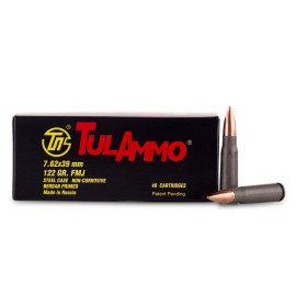 Image For 40 Rounds Of 122 Grain FMJ Berdan Steel 7.62x39 TulAmmo Ammunition