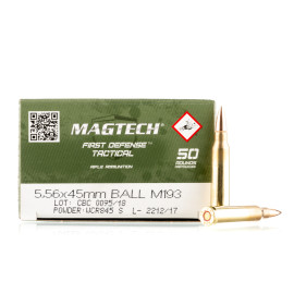 Image For 50 Rounds Of 55 Grain FMJ Boxer Brass 5.56x45 Magtech Ammunition