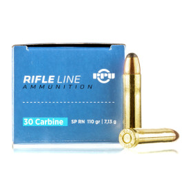 Image For 50 Rounds Of 110 Grain SP Boxer Brass 30 Carbine Prvi Partizan Ammunition