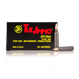 Image For 100 Rounds Of 55 Grain FMJ Berdan Steel 223 Rem TulAmmo Ammunition