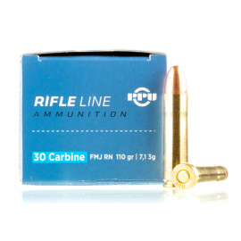 Image For 50 Rounds Of 110 Grain FMJ Boxer Brass 30 Carbine Prvi Partizan Ammunition