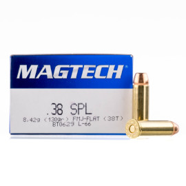 Image For 50 Rounds Of 130 Grain FMJ Boxer Brass 38 Special Magtech Ammunition