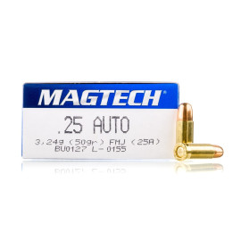 Image For 50 Rounds Of 50 Grain FMJ Boxer Brass 25 ACP Magtech Ammunition