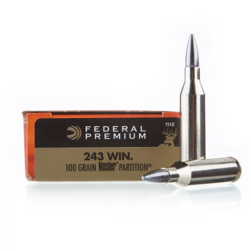 Federal Vital-Shok 243 Win Ammo - 20 Rounds of 100 Grain Nosler Partition  SP Ammunition