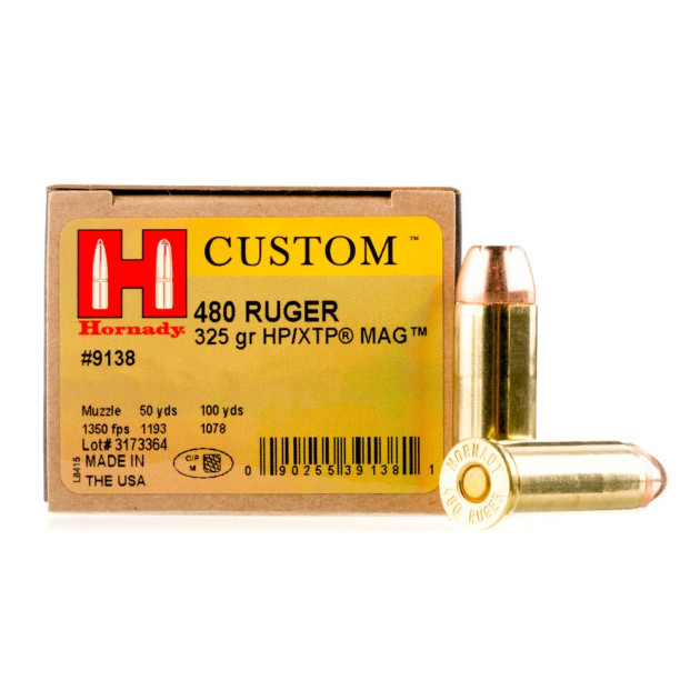 Hornady 480 Ruger Ammo - 20 Rounds of 325 Grain JHP Ammunition