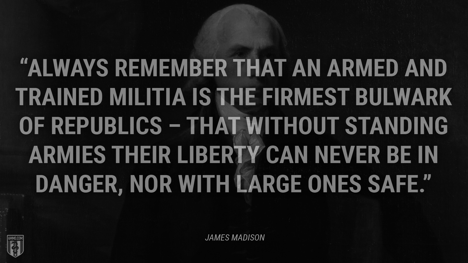 """Always remember that an armed and trained militia is the firmest bulwark of republics – that without standing armies their liberty can never be in danger, nor with large ones safe."" - James Madison"