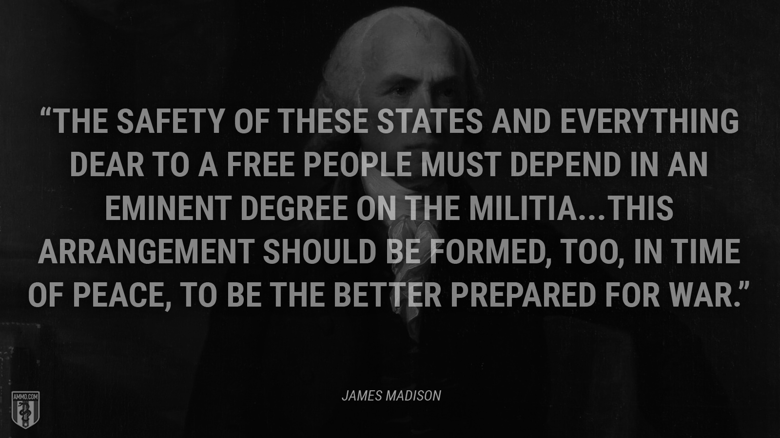 """The safety of these States and everything dear to a free people must depend in an eminent degree on the militia...This arrangement should be formed, too, in time of peace, to be the better prepared for war."" - James Madison"