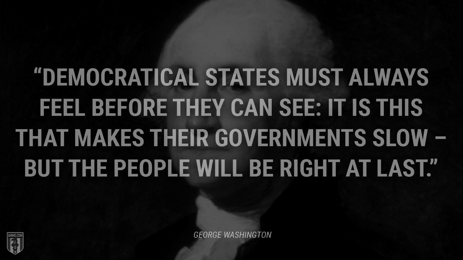 """""""Democratical States must always feel before they can see: it is this that makes their Governments slow – but the people will be right at last."""" - George Washington"""