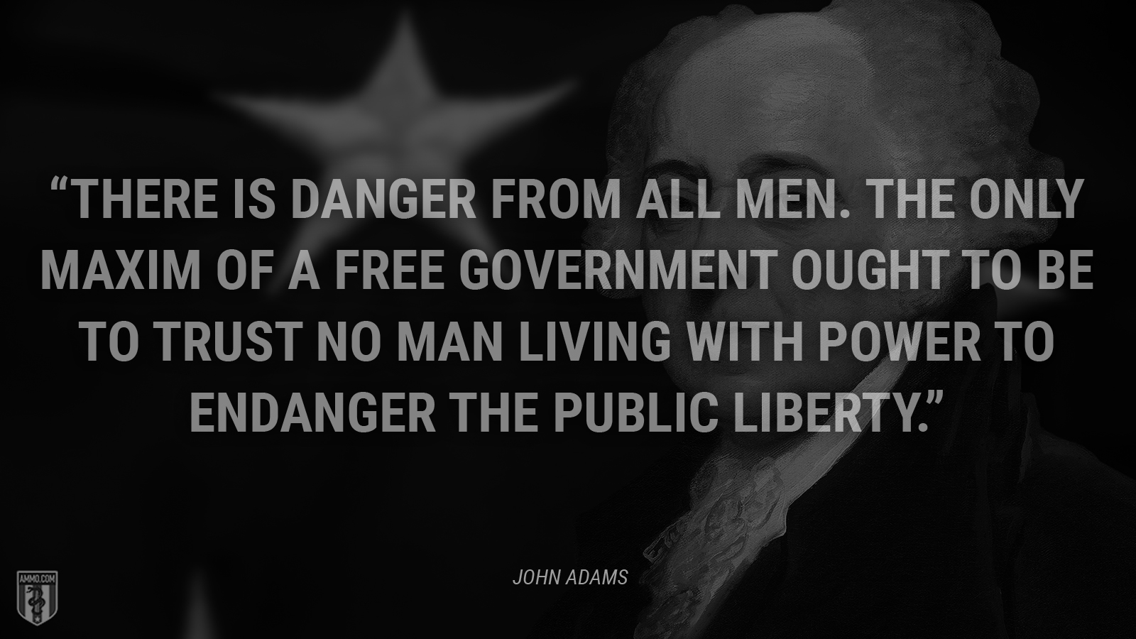 """""""There is danger from all men. The only maxim of a free government ought to be to trust no man living with power to endanger the public liberty."""" - John Adams"""