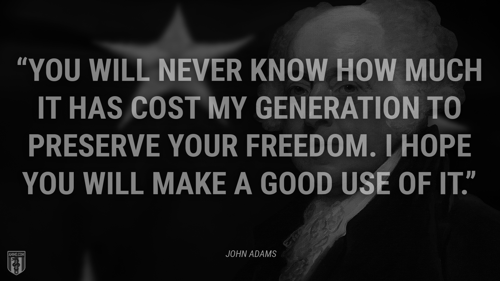 """You will never know how much it has cost my generation to preserve YOUR freedom. I hope you will make a good use of it."" - John Adams"
