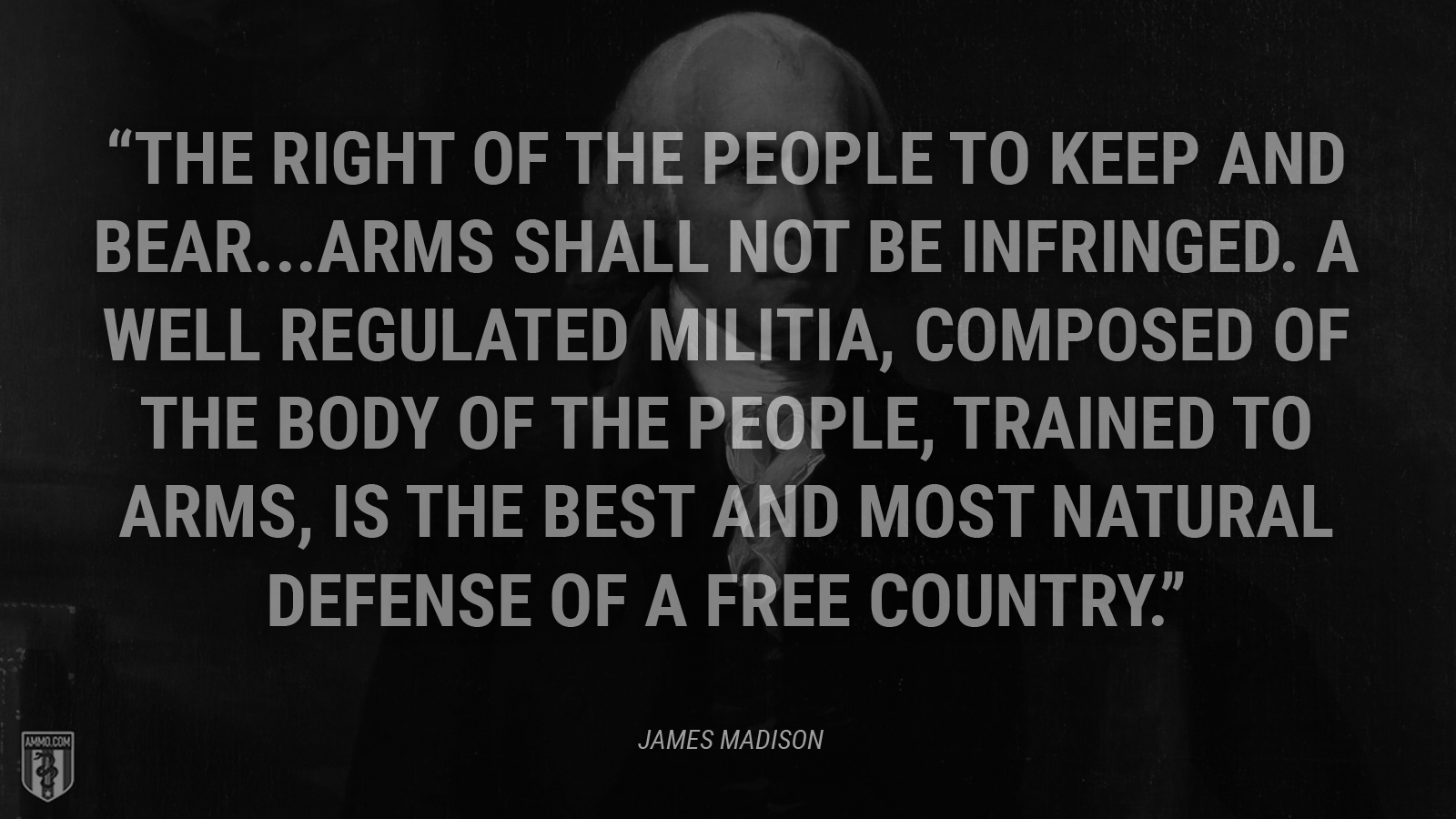 """The right of the people to keep and bear...arms shall not be infringed. A well regulated militia, composed of the body of the people, trained to arms, is the best and most natural defense of a free country."" - James Madison"
