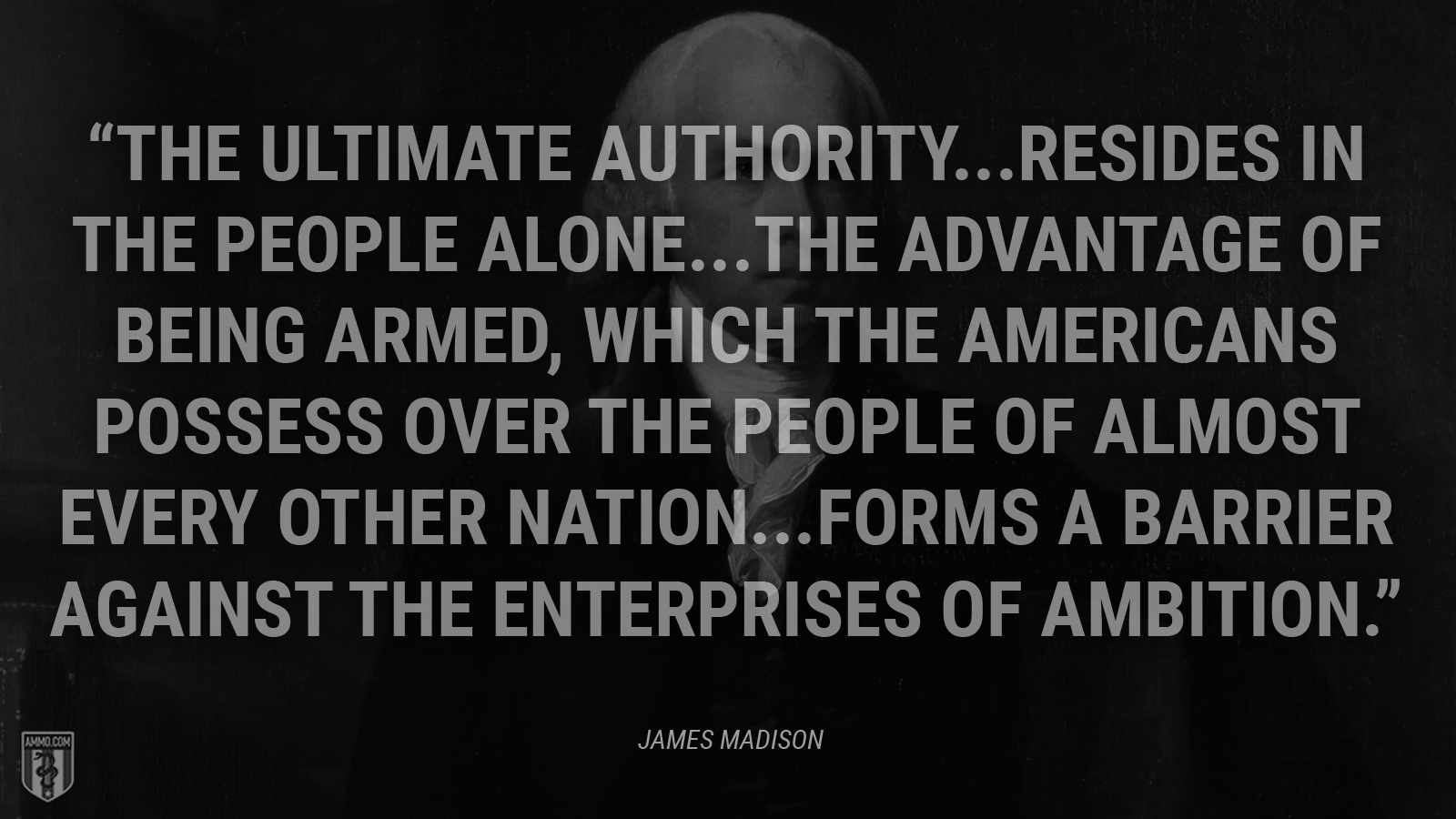 """The ultimate authority...resides in the people alone...The advantage of being armed, which the Americans possess over the people of almost every other nation...forms a barrier against the enterprises of ambition."" - James Madison"