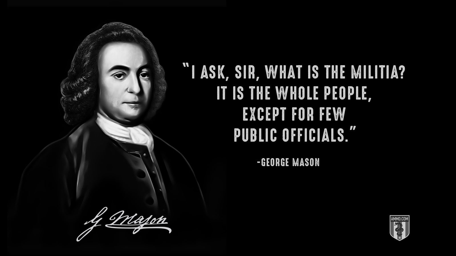 """I ask, sir, what is the militia? It is the whole people, except for few public officials."" - George Mason"