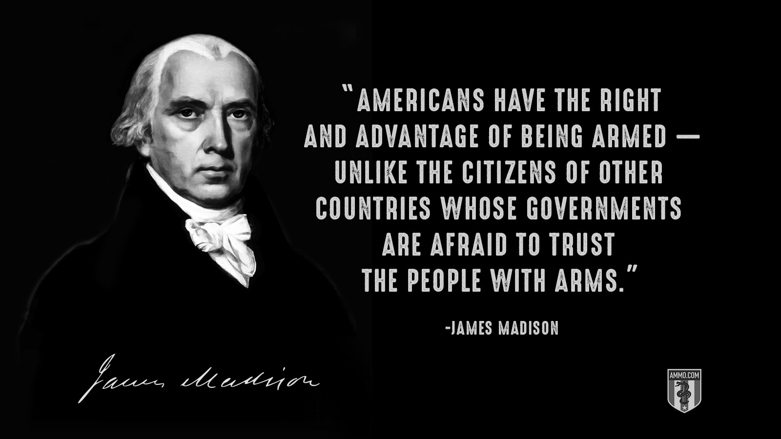 """Americans have the right and advantage of being armed ― unlike the citizens of other countries whose governments are afraid to trust the people with arms."" - James Madison"