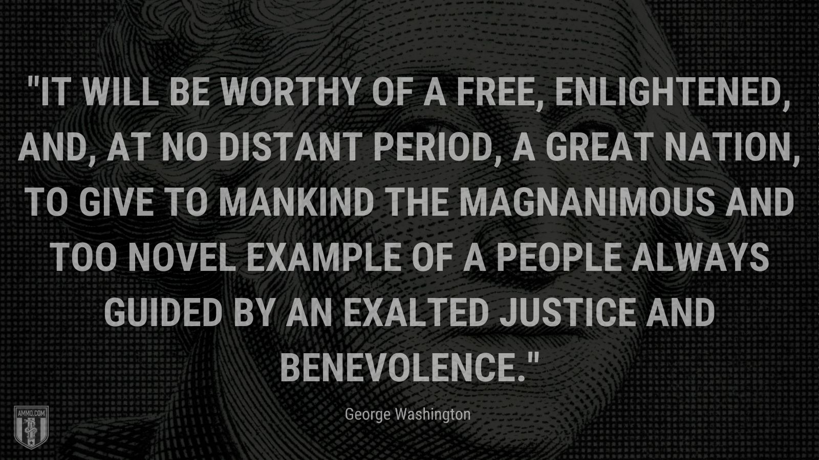 """""""It will be worthy of a free, enlightened, and, at no distant period, a great nation, to give to mankind the magnanimous and too novel example of a People always guided by an exalted justice and benevolence."""" - George Washington"""