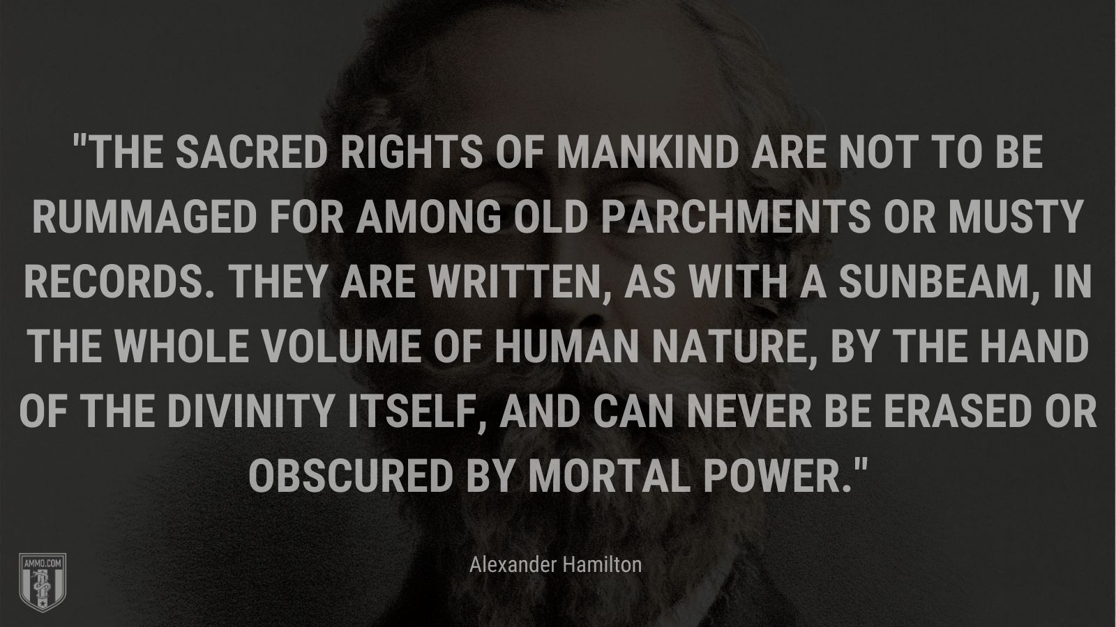 """""""The sacred rights of mankind are not to be rummaged for among old parchments or musty records. they are written, as with a sunbeam, in the whole volume of human nature, by the hand of the divinity itself, and can never be erased or obscured by mortal power."""" - Alexander Hamilton"""