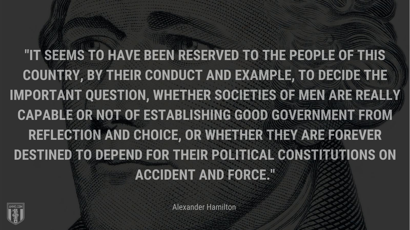 """""""It seems to have been reserved to the people of this country, by their conduct and example, to decide the important question, whether societies of men are really capable or not of establishing good government from reflection and choice, or whether they are forever destined to depend for their political constitutions on accident and force."""" - Alexander Hamilton"""