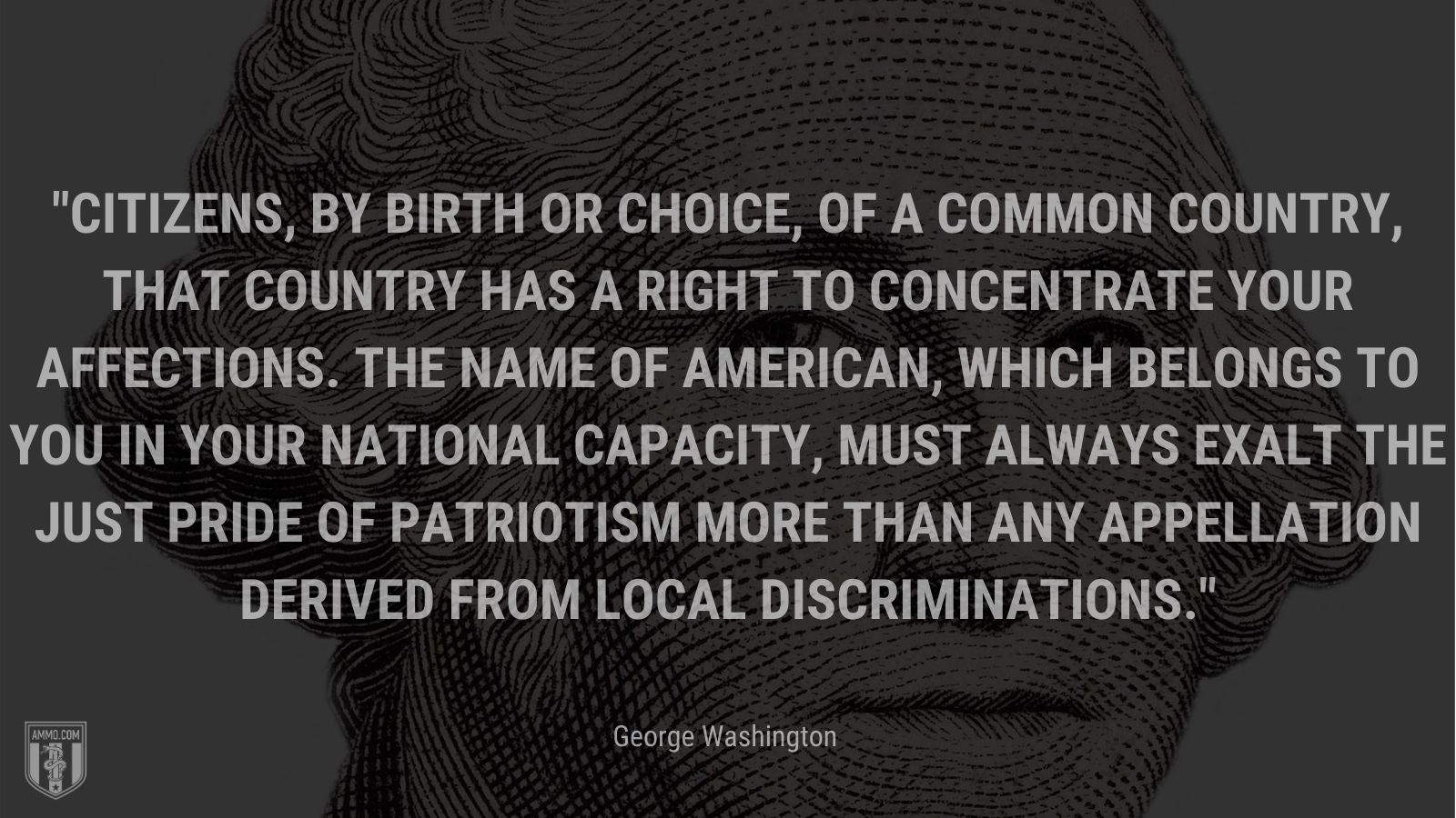 """""""Citizens, by birth or choice, of a common country, that country has a right to concentrate your affections. The name of American, which belongs to you in your national capacity, must always exalt the just pride of patriotism more than any appellation derived from local discriminations."""" - George Washington"""