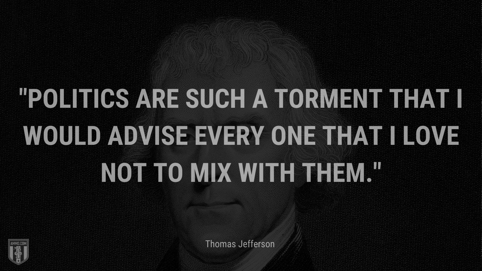 """""""Politics are such a torment that I would advise every one that I love not to mix with them."""" - Thomas Jefferson"""